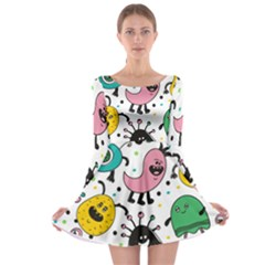 Cute And Fun Monsters Pattern Long Sleeve Skater Dress by allthingseveryday