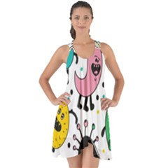 Cute And Fun Monsters Pattern Show Some Back Chiffon Dress