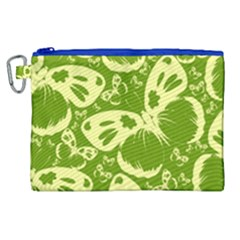 Pale Green Butterflies Pattern Canvas Cosmetic Bag (xl) by allthingseveryday