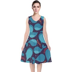 Blue Whale Pattern V Neck Midi Sleeveless Dress