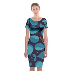 Blue Whale Pattern Classic Short Sleeve Midi Dress by allthingseveryday