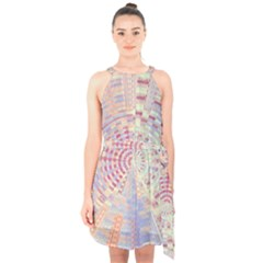 Gateway To Thelight Pattern  Halter Collar Waist Tie Chiffon Dress by Cveti