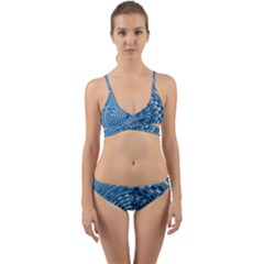 Gateway Pattern Blue 3 Wrap Around Bikini Set