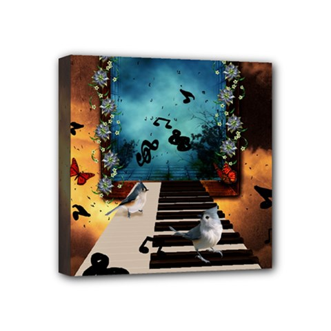 Music, Piano With Birds And Butterflies Mini Canvas 4  X 4  by FantasyWorld7