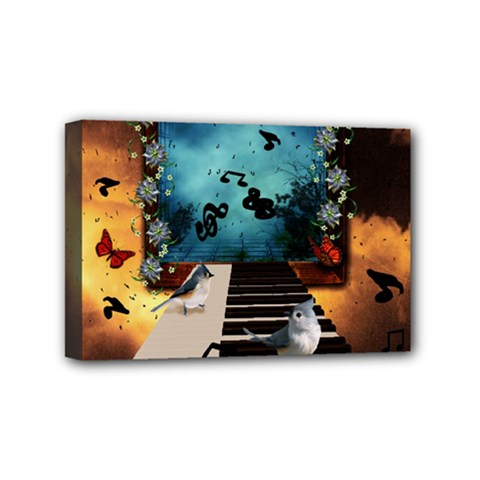 Music, Piano With Birds And Butterflies Mini Canvas 6  X 4  by FantasyWorld7