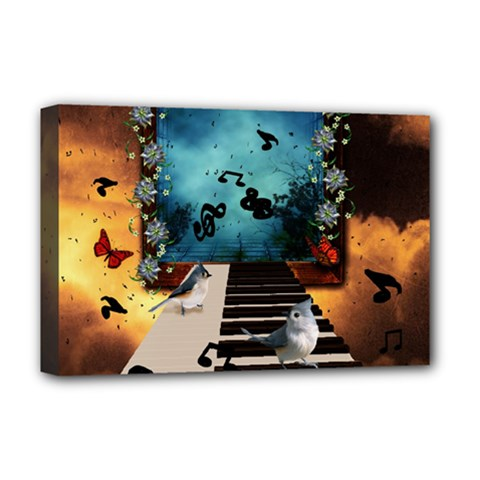 Music, Piano With Birds And Butterflies Deluxe Canvas 18  X 12   by FantasyWorld7