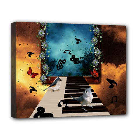 Music, Piano With Birds And Butterflies Deluxe Canvas 20  X 16   by FantasyWorld7