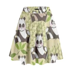 Fun Panda Pattern High Waist Skirt by allthingseveryday