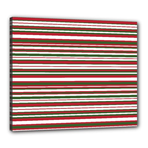 Christmas Stripes Pattern Canvas 24  X 20  by patternstudio