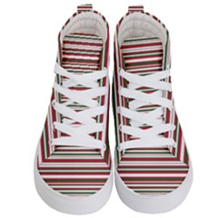 Christmas Stripes Pattern Kid s Hi Top Skate Sneakers