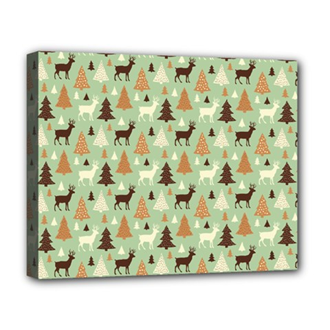 Reindeer Tree Forest Art Deluxe Canvas 20  X 16   by patternstudio
