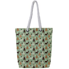 Reindeer Tree Forest Art Full Print Rope Handle Tote (small) by patternstudio