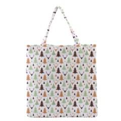 Reindeer Christmas Tree Jungle Art Grocery Tote Bag by patternstudio