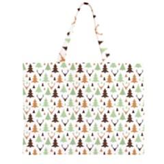 Reindeer Christmas Tree Jungle Art Zipper Large Tote Bag by patternstudio