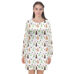 Reindeer Christmas Tree Jungle Art Long Sleeve Chiffon Shift Dress