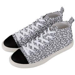 Wavy Intricate Seamless Pattern Design Men s Mid Top Canvas Sneakers by dflcprints