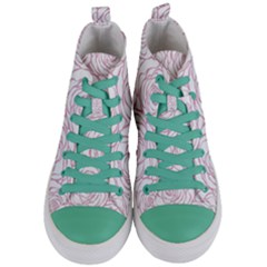 Pink Peonies Women s Mid Top Canvas Sneakers