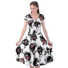 Goofy Monsters Pattern  Cap Sleeve Wrap Front Dress
