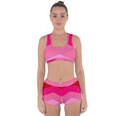 Geometric Shapes Magenta Pink Rose Racerback Boyleg Bikini Set by Celenk