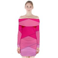 Geometric Shapes Magenta Pink Rose Long Sleeve Off Shoulder Dress by Celenk