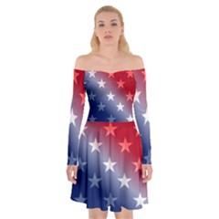 America Patriotic Red White Blue Off Shoulder Skater Dress by Celenk