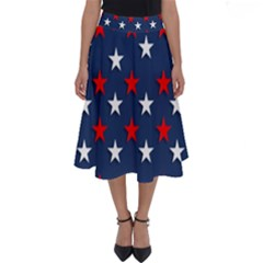 Patriotic Colors America Usa Red Perfect Length Midi Skirt