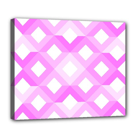 Geometric Chevrons Angles Pink Deluxe Canvas 24  X 20   by Celenk