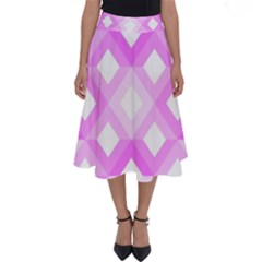 Geometric Chevrons Angles Pink Perfect Length Midi Skirt