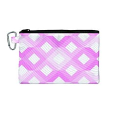 Geometric Chevrons Angles Pink Canvas Cosmetic Bag (medium) by Celenk