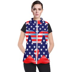 Patriotic American Usa Design Red Women s Puffer Vest