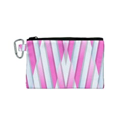 Geometric 3d Design Pattern Pink Canvas Cosmetic Bag (small) by Celenk