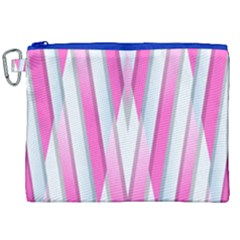 Geometric 3d Design Pattern Pink Canvas Cosmetic Bag (xxl) by Celenk