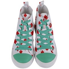 Maple Leaf Canada Emblem Country Women s Mid Top Canvas Sneakers