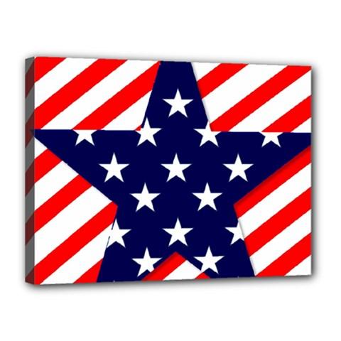 Patriotic Usa Stars Stripes Red Canvas 16  x 12