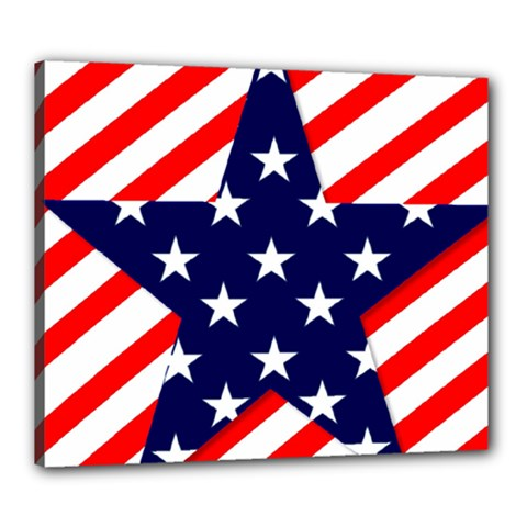 Patriotic Usa Stars Stripes Red Canvas 24  x 20