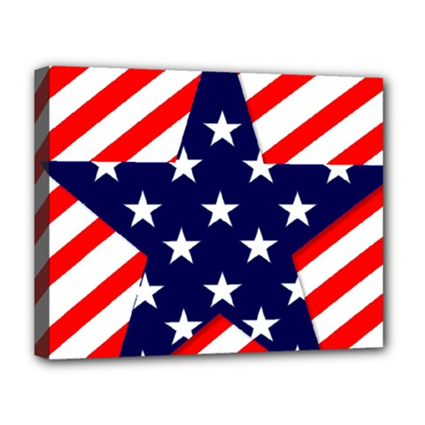 Patriotic Usa Stars Stripes Red Deluxe Canvas 20  X 16   by Celenk