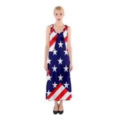 Patriotic Usa Stars Stripes Red Sleeveless Maxi Dress