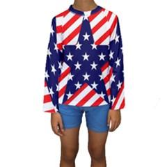 Patriotic Usa Stars Stripes Red Kids  Long Sleeve Swimwear