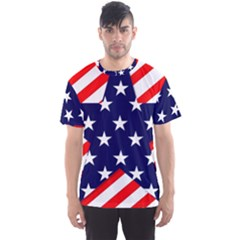 Patriotic Usa Stars Stripes Red Men s Sports Mesh Tee by Celenk