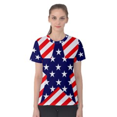 Patriotic Usa Stars Stripes Red Women s Cotton Tee by Celenk