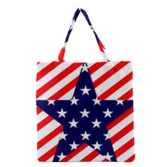 Patriotic Usa Stars Stripes Red Grocery Tote Bag by Celenk