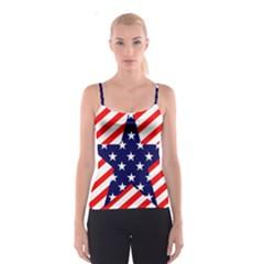 Patriotic Usa Stars Stripes Red Spaghetti Strap Top