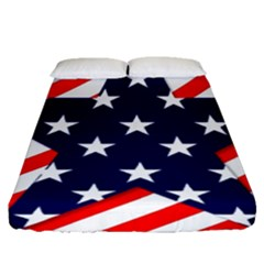 Patriotic Usa Stars Stripes Red Fitted Sheet (queen Size) by Celenk