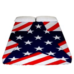 Patriotic Usa Stars Stripes Red Fitted Sheet (California King Size)