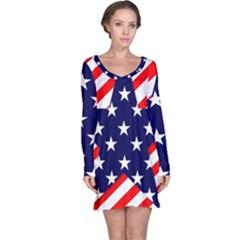 Patriotic Usa Stars Stripes Red Long Sleeve Nightdress
