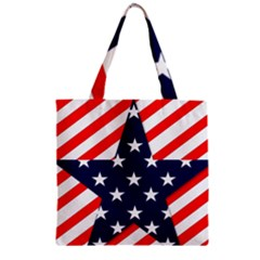 Patriotic Usa Stars Stripes Red Zipper Grocery Tote Bag by Celenk