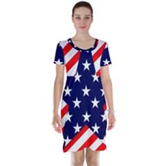 Patriotic Usa Stars Stripes Red Short Sleeve Nightdress