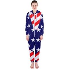 Patriotic Usa Stars Stripes Red Hooded Jumpsuit (Ladies)