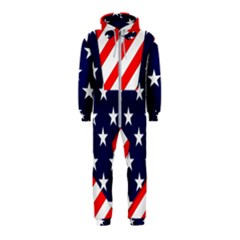Patriotic Usa Stars Stripes Red Hooded Jumpsuit (kids) by Celenk