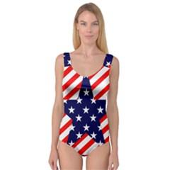 Patriotic Usa Stars Stripes Red Princess Tank Leotard